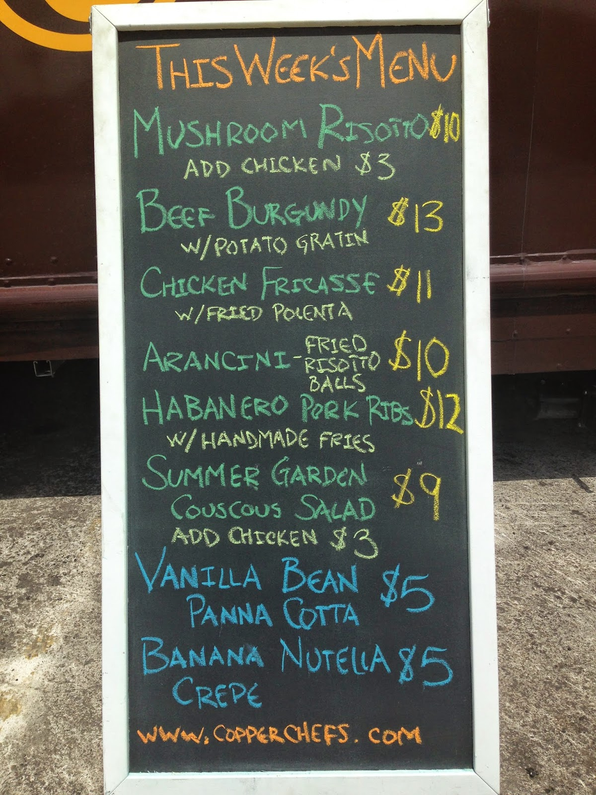 Copper Chefs Food Truck Menu