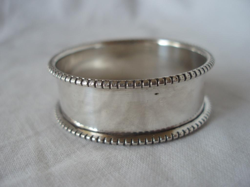 fossils antiques bead edge napkin ring sterling silver