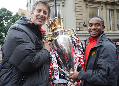 Van der Sar Anderson Manchester United Champions Barclays Premier League Parade