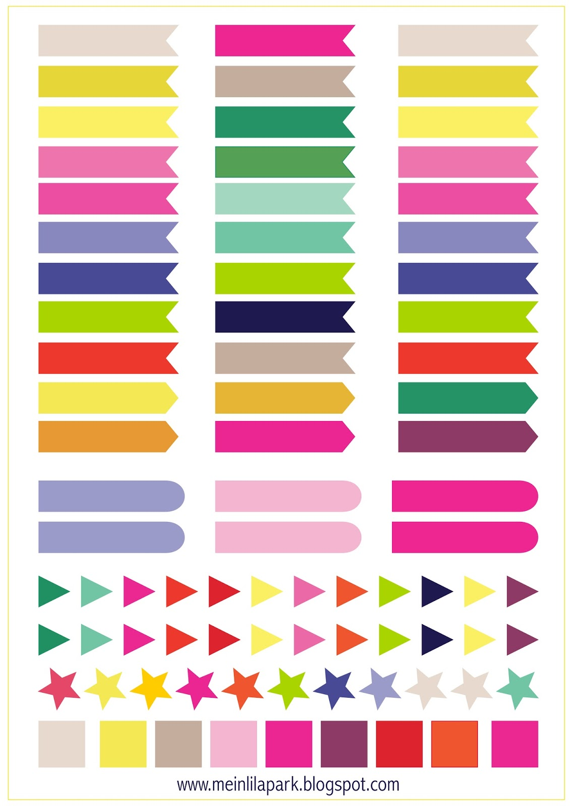 Free printable calendar planner flags and markers - ausdruckbare ...