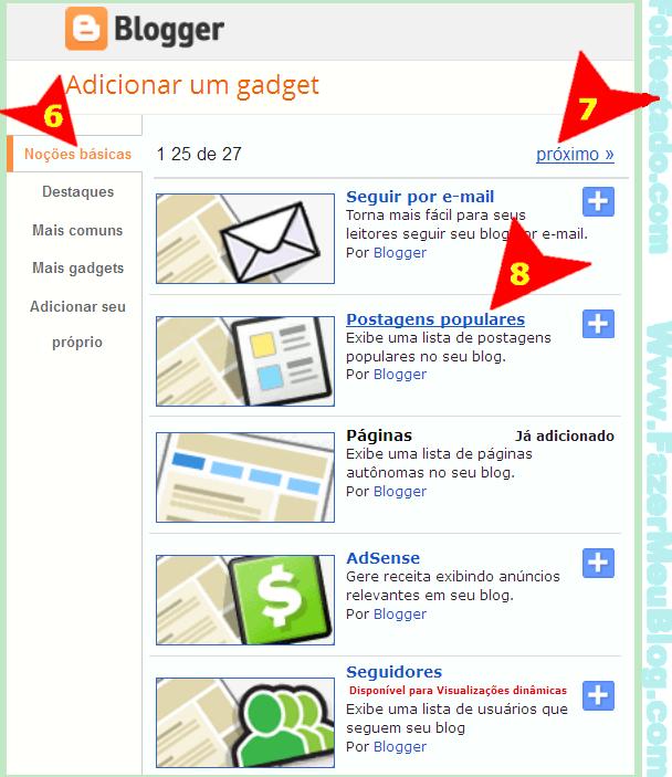 Escolhendo gadget ou widgets do blogger para um de meus blogspot ou site com sistema blogger