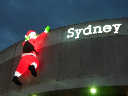 Blow up santa in darling harbour sydney