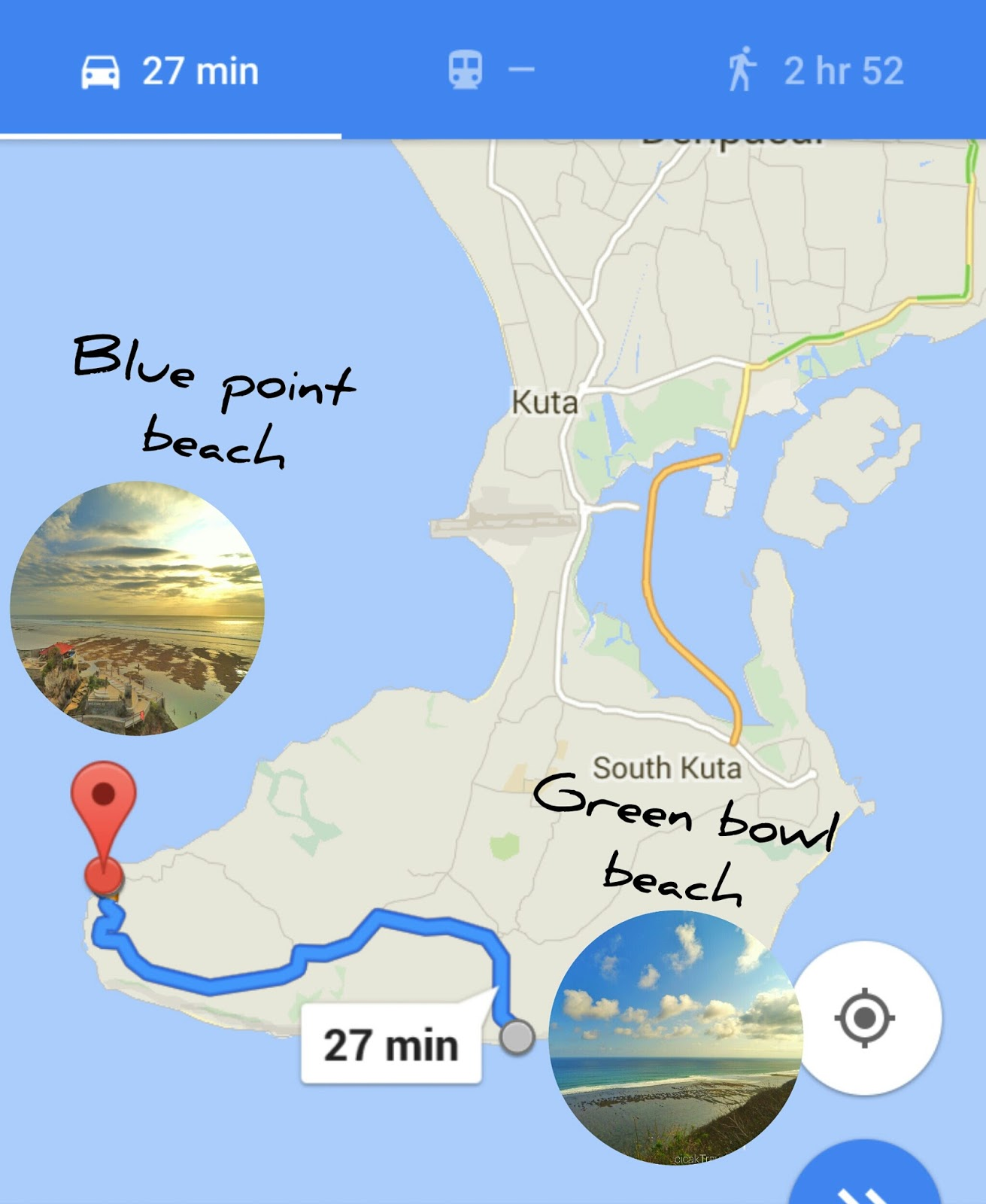 the route from green bowl beach to blue point beach