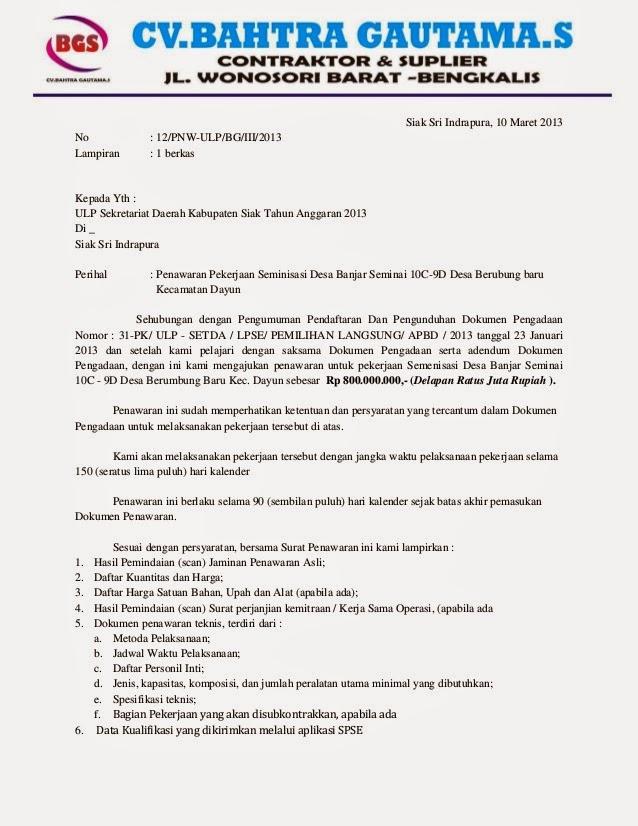 Bentuk Dokumen Penawaran (Surat Penawaran) | Pengadaan ...