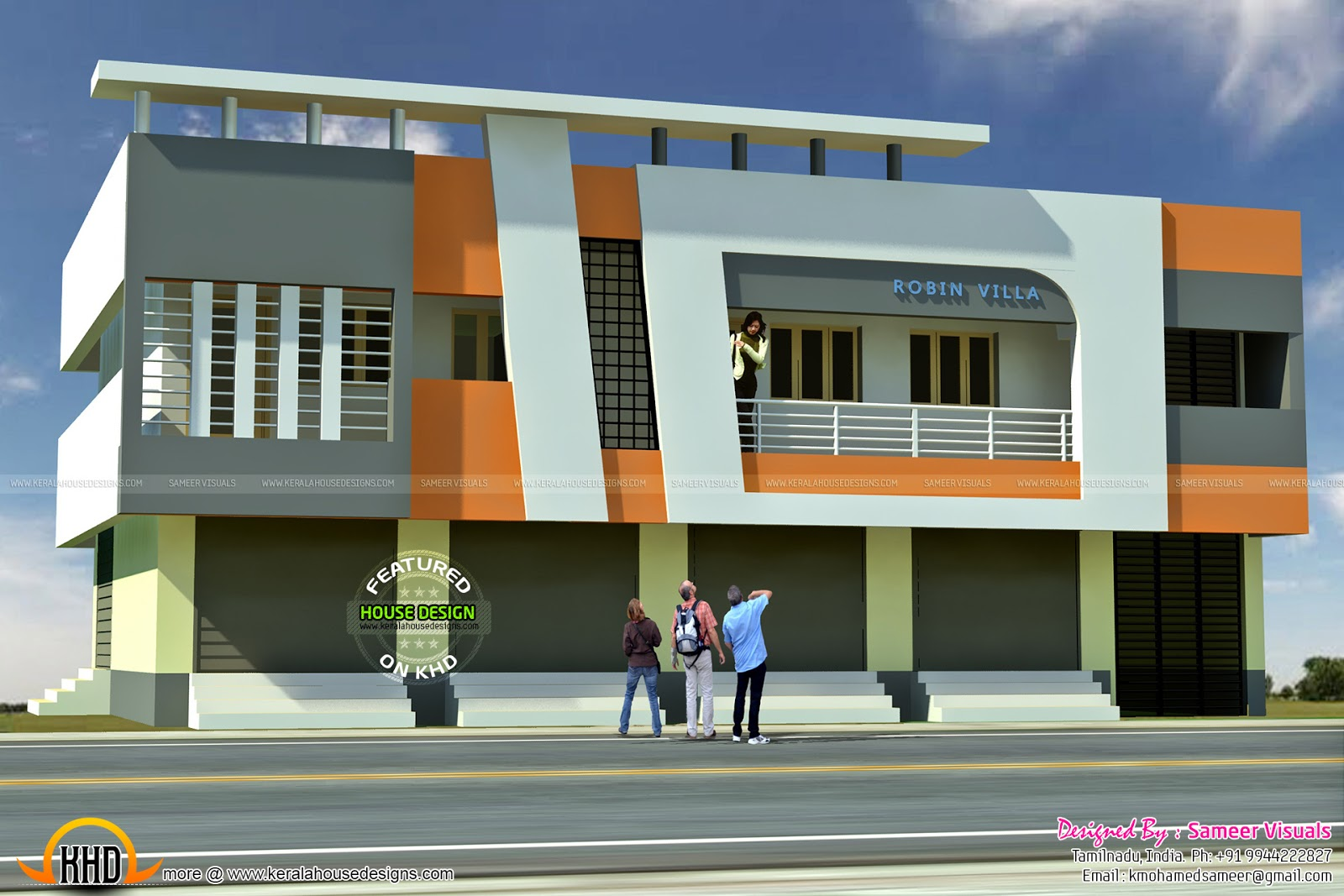 5 Shop With Residence 2620 Sqft Kerala Home Design And
