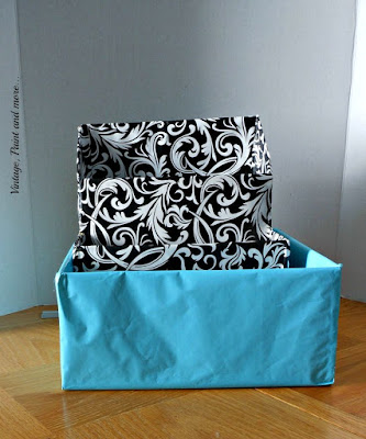 Vintage, Paint and more... wrapping paper added to boxes for a diy dish organizer