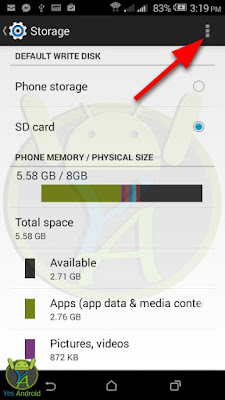 HTC Desire 526G Storage Menu - Yes Android