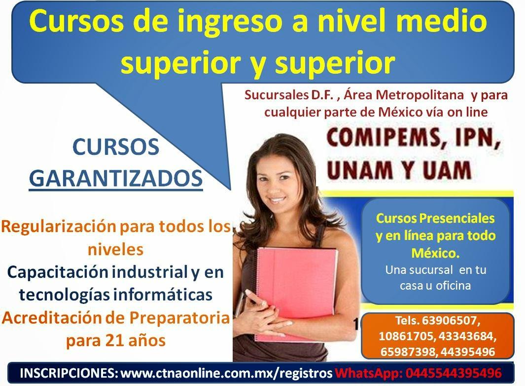 Curso Comipems 2015, Cursos de preparación para ingreso IPN 2015, UNAM , UAM, Prepas, Bachilleratos