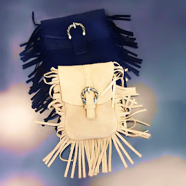 Going Boho—Maje M Bags in suede fringe.