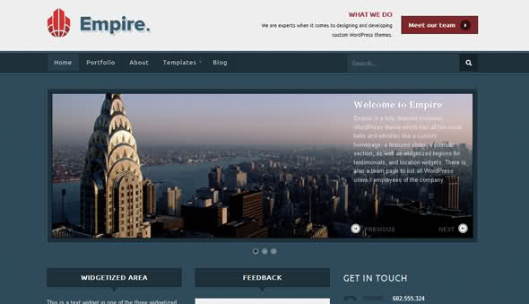 Empire Wordpress Theme Free Download by WooThemes.