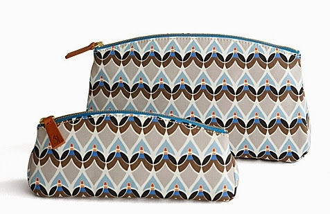 Blue and brown graphic print makeup bag and clutch