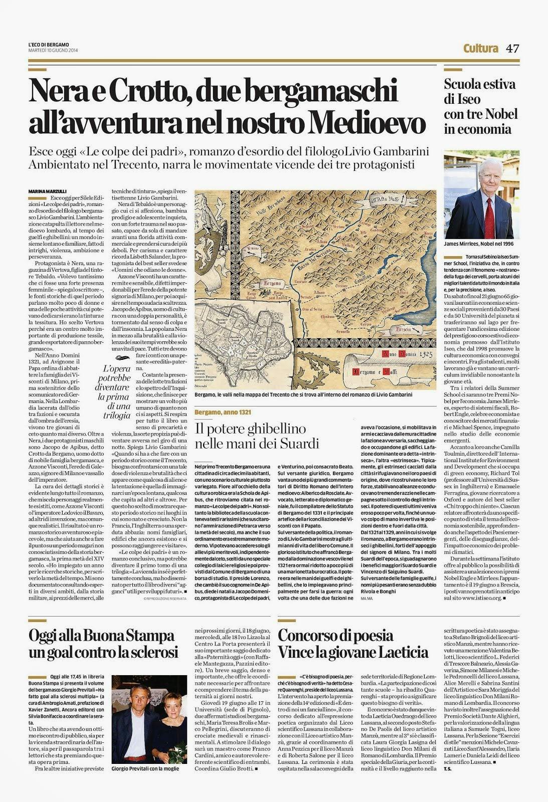 Articolo sull'Eco di Bergamo