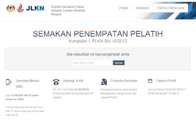 Semakan Penempatan Pelatih PLKN 2014 - Online dan SMS