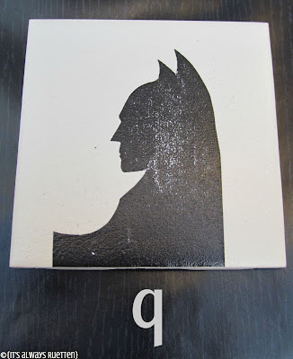 DIY Batman Coasters from itsalwaysruetten.blogspot.com using Batman Logo Evolution #ModPodge #Superhero #Batman #Comic