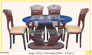 Meja dan Kursi Makan Ukiran Kayu Jati Angsa Table 4 Chair