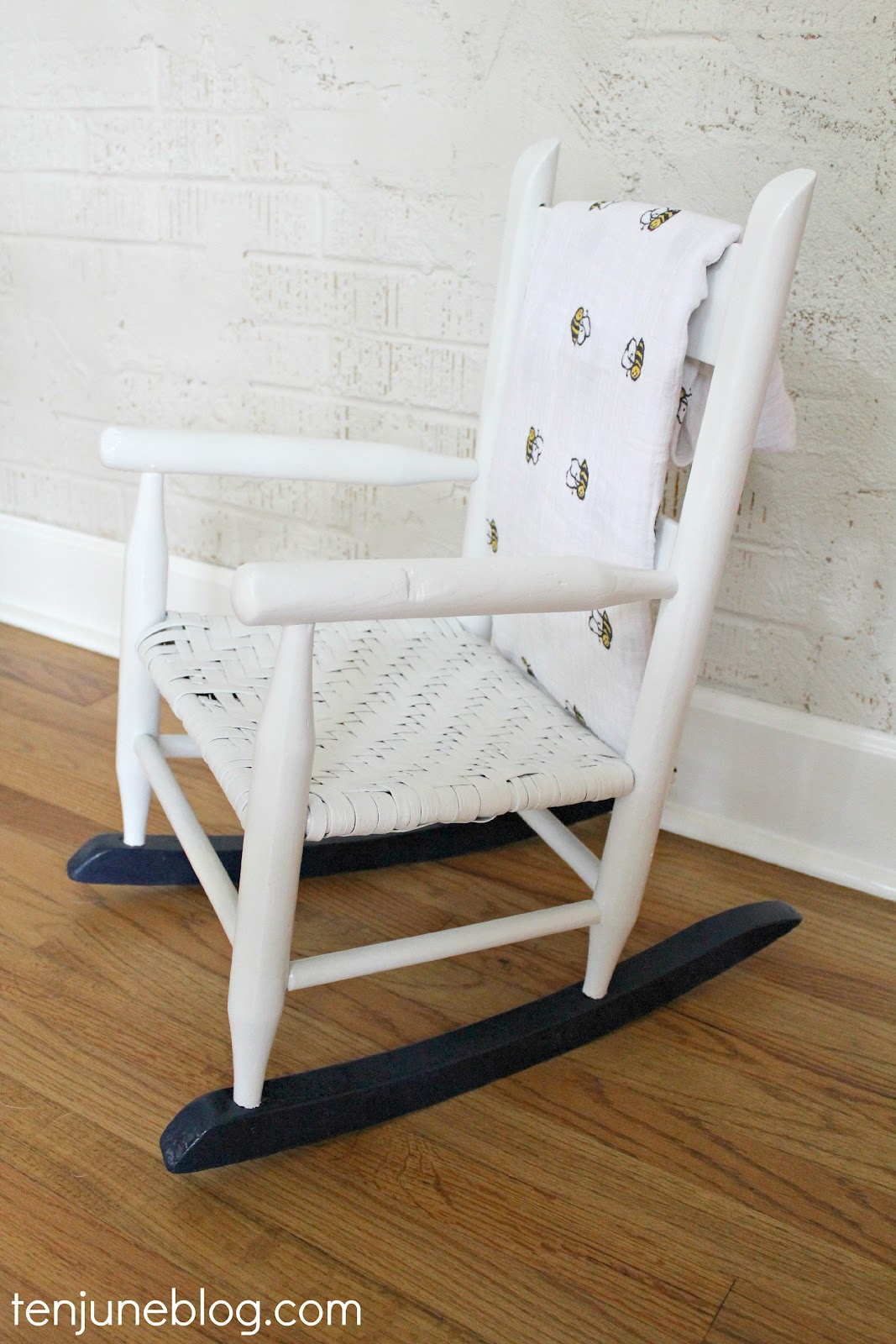 Amazing photo of Ten June: Multi Colored Spray Painted Rocking Chair {A Nursery DIY} with #6E4B26 color and 1067x1600 pixels