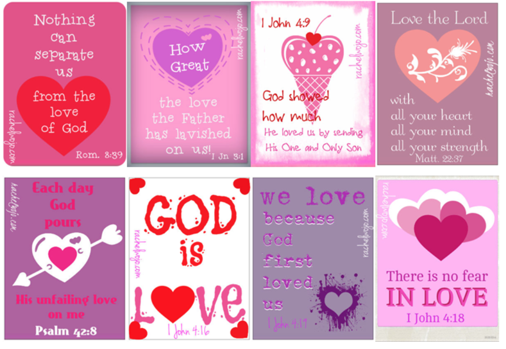 image 8 Christian  Valentines  Pink white and red   God is Love and more