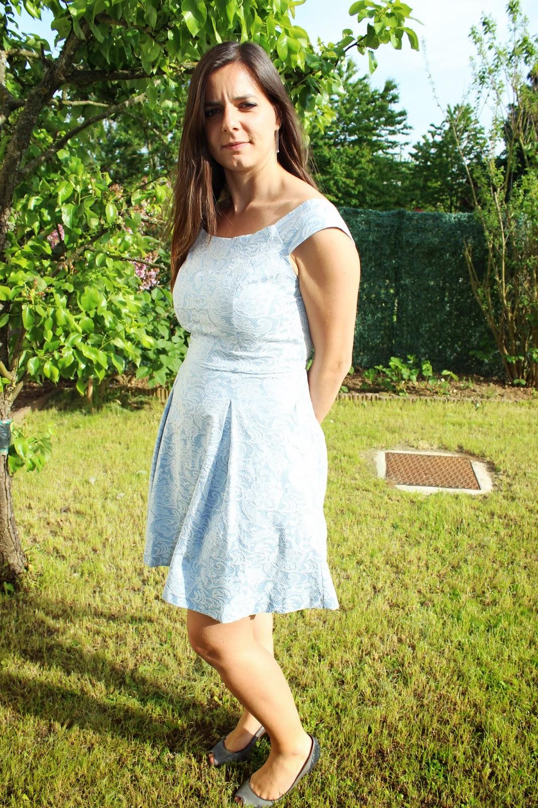 Robe brocard Naf Naf bleu ciel