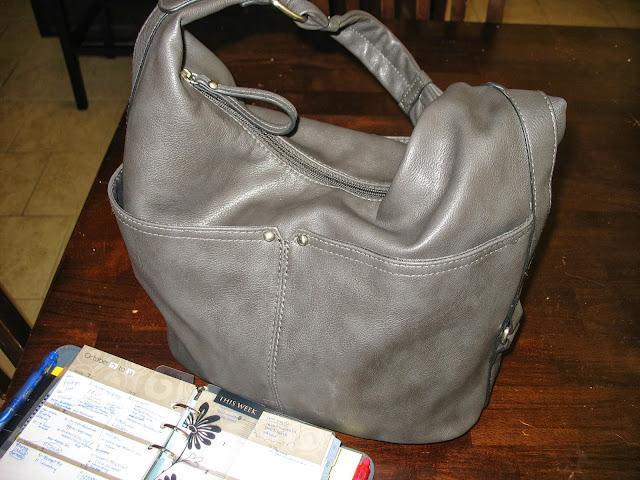 gray, purse, planner