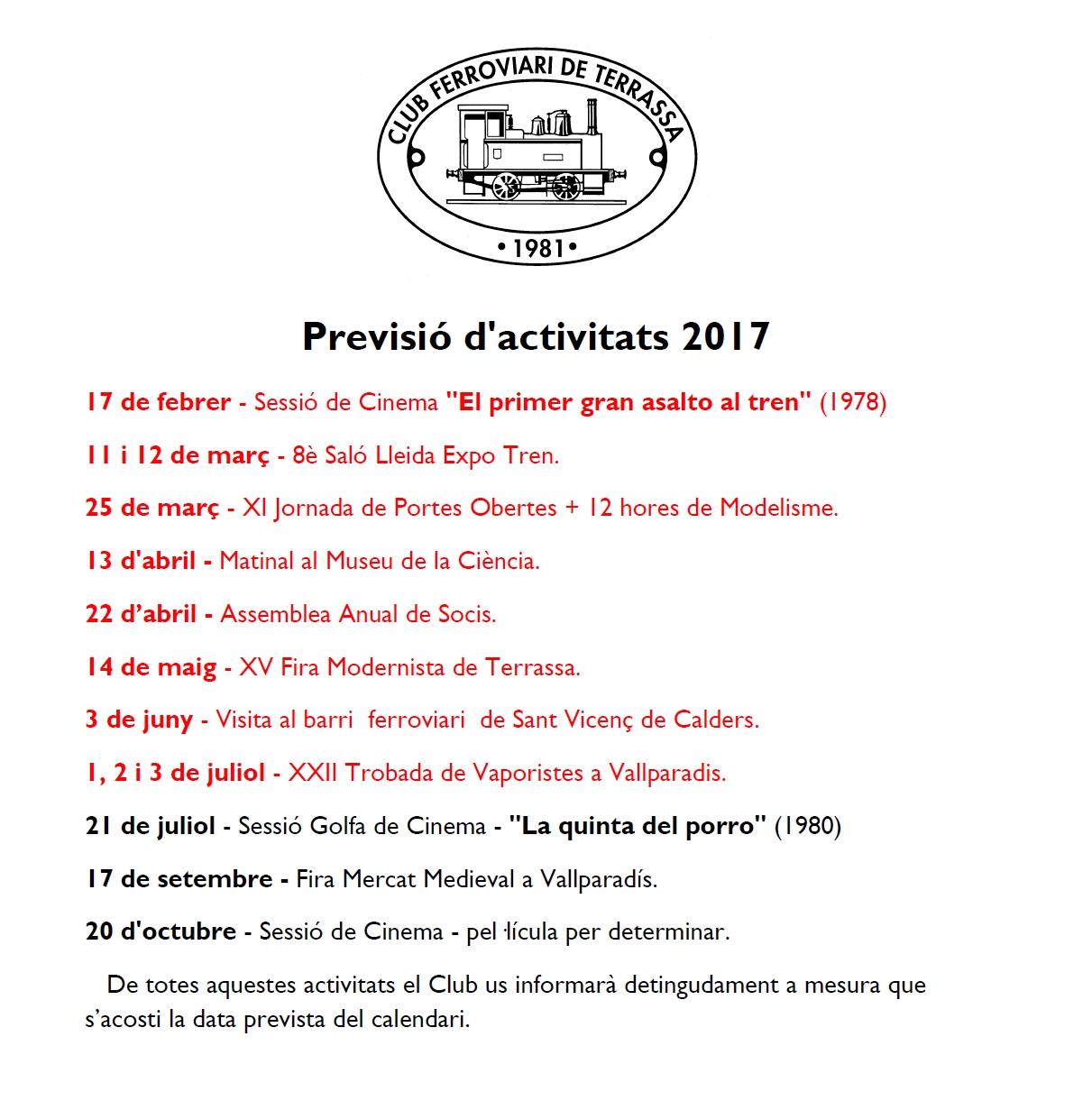 Actualització de la Previsió d'Activitats del Club Ferroviari de Terrassa. 7-JUNY-2017