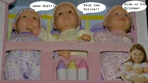 You and Me Play and Giggle Triplets, cursing dolls Toys R US