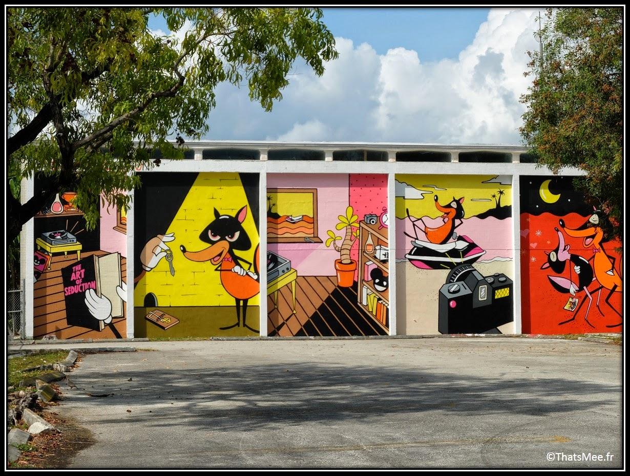 Street art cartoon Wynwood art district Miami, Miami art basel