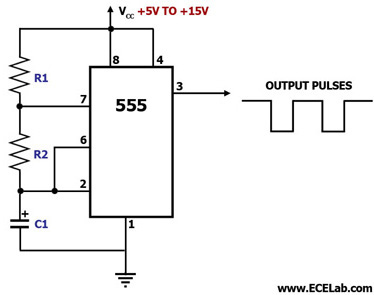 Astable Multivibrator Using IC 555 Circuit