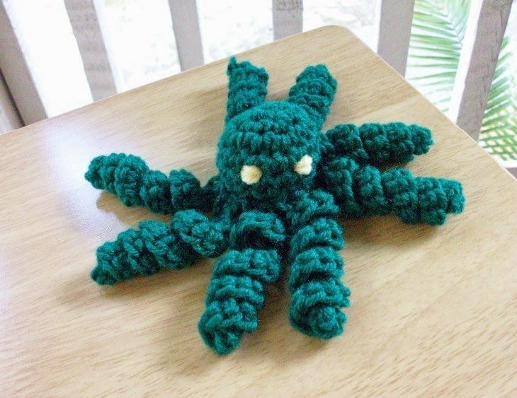Plush Baby Octopus in Green