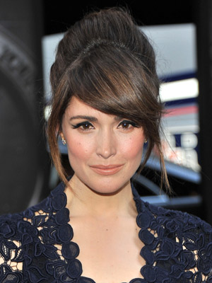 Rose Byrne looks super-chic with side-swept bangs and a voluminous updo