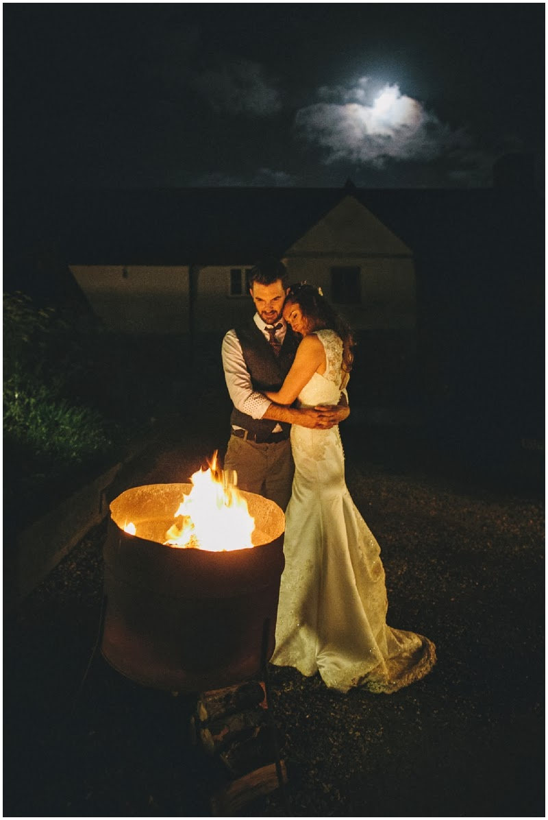 Bride and groom in moonlight at River Cottage HQ Devon