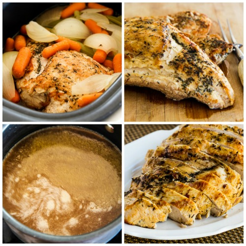 How to Cook a Turkey Breast in the Crockpot and Lower-Carb and Gluten-Free Turkey Gravy [found on KalynsKitchen.com]