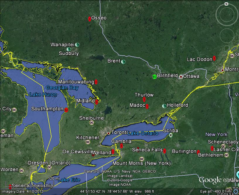 Meteorite Maps And Impact Craters Worldwide Ontario Canada Area - Map of ontario canada