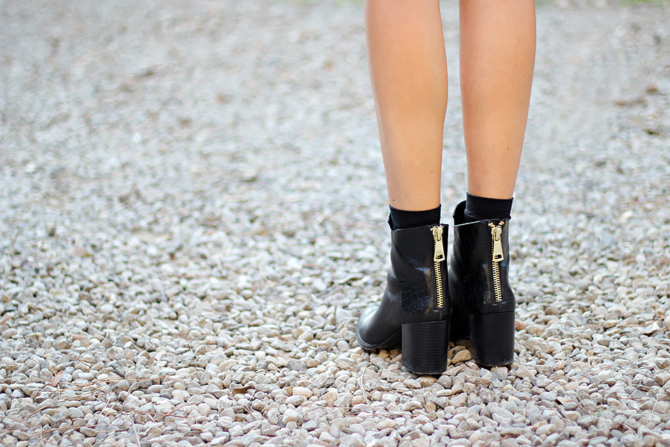 zara black leather zip booties
