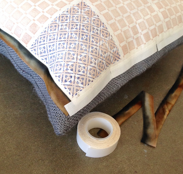 double-sided fabric tape for ribbon trim on pillow