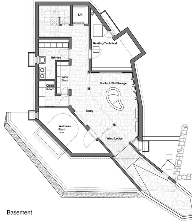 Basement mountain home floor plan