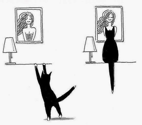 O desenho em preto e branco é composto por duas imagens lado a lado. À esquerda, em um quadro na parede, uma mulher sorridente da cintura para cima, com os cabelos longos esvoaçantes à esquerda; abaixo do quadro, um aparador com um abajur. Um gatinho preto e em pé, na ponta das patas traseiras, apoia as patinhas brancas dianteiras no aparador. À direita, o gato está sentado no tampo do aparador bem em frente a mulher do quadro, dando a impressão de que a mulher está na ponta do pé, com um vestido e meias em preto. As orelhas pontudas do gato formam as alças do vestido, a cabeça e a parte do corpo do bichano, o vestido e a cauda reta para baixo, as pernas.