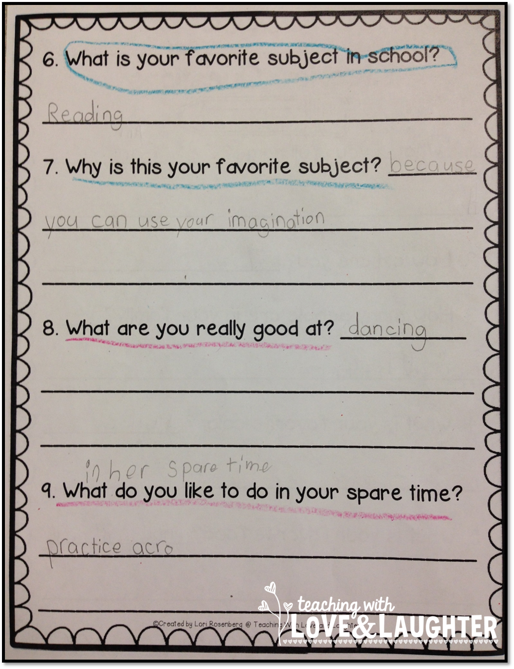 teaching love and laughter first grade interviews then they ask each other questions and record their answers
