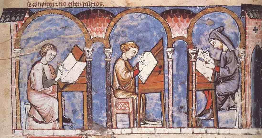 """Ilustración de un scriptorium medieval en el """"Libro del ajedrez"""" de Alfonso X el Sabio (1251-1263)"""