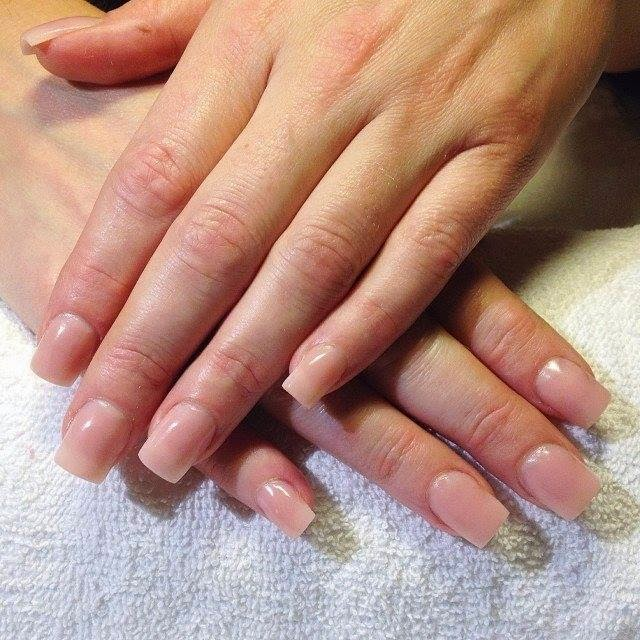 Gelish polish design- new acrylic overlay on her acrylic nails with ...