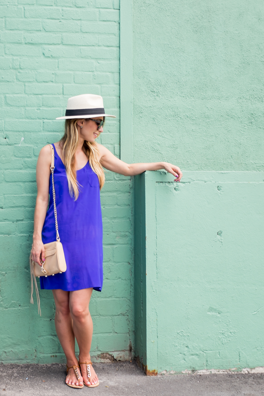french connection cobalt silk dress outfit