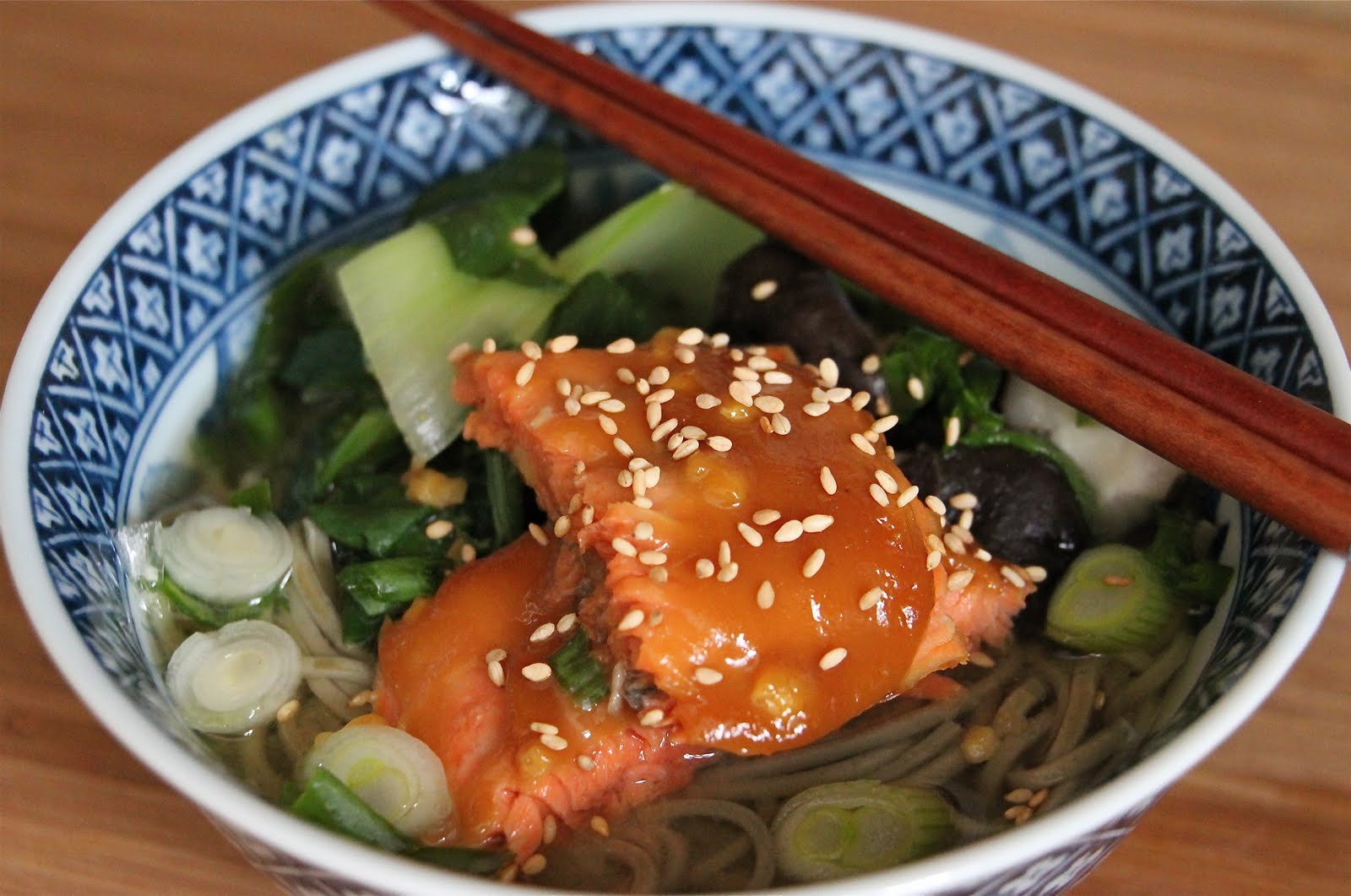 Easy Honey Glazed Salmon with Soba Noodle Soup