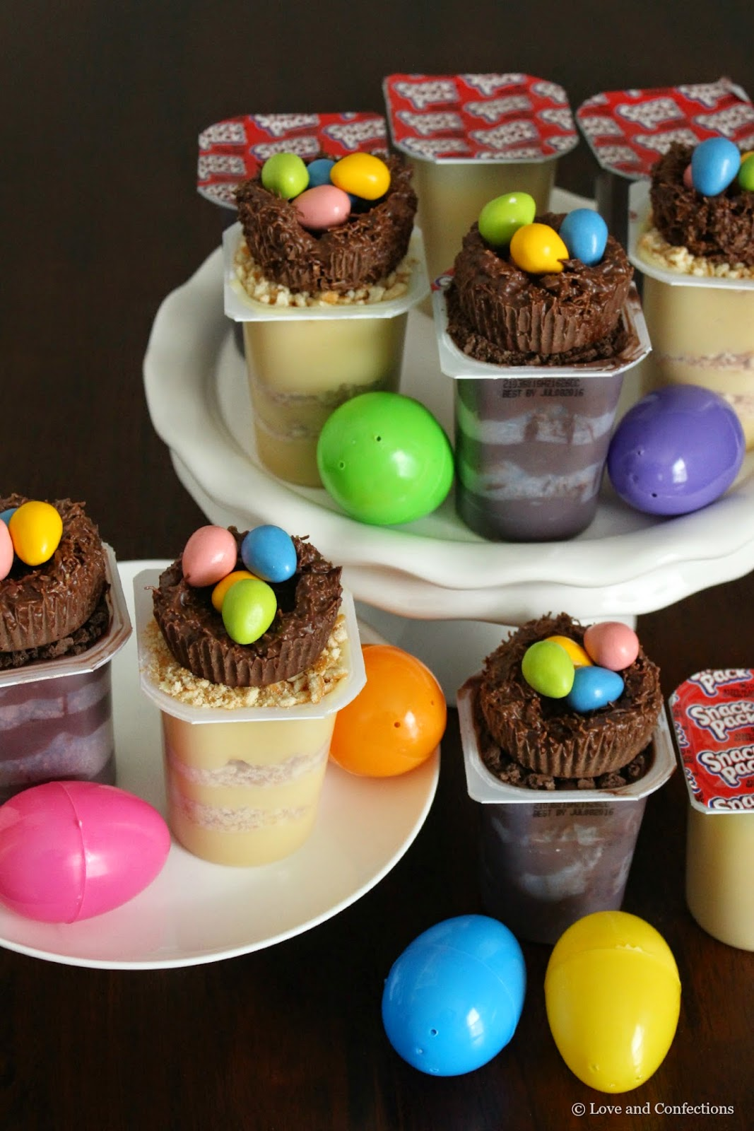 Bird Nest Easter Pudding Cups from LoveandConfections.com