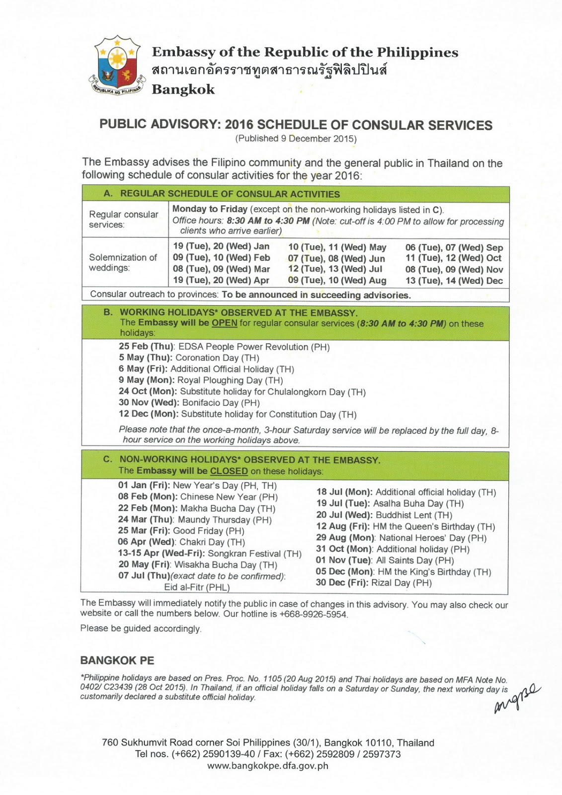Official agent resume for Consular services