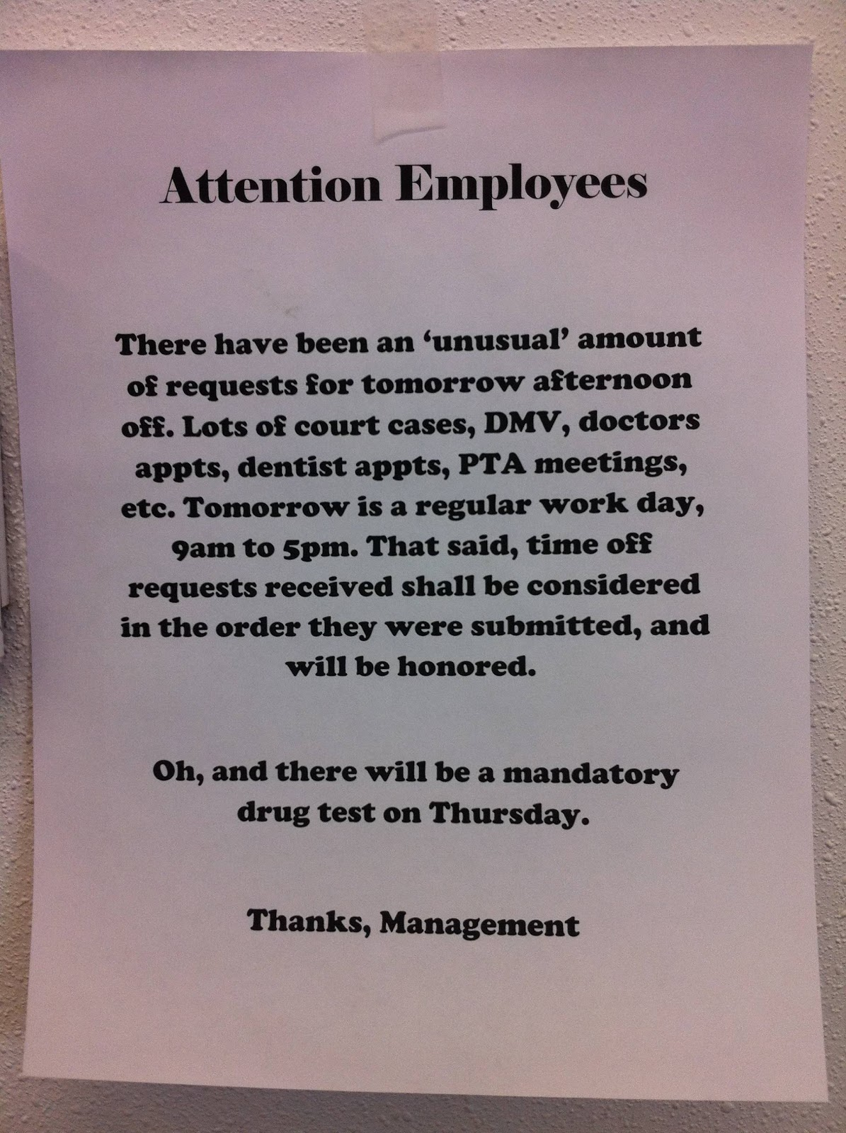 ... and Zeros: PAT POSTS A MEMO FOR EMPLOYEES IN ANTICIPATION OF 4/20