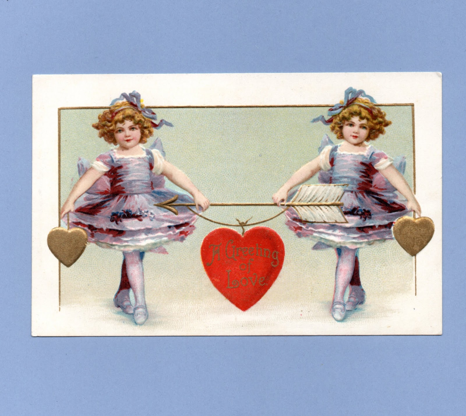 Vintage Victorian Postcard Printed onto Fabric Block Victorian Clapsaddle