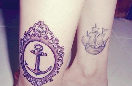 Tatuagem de Ancora e Moldura