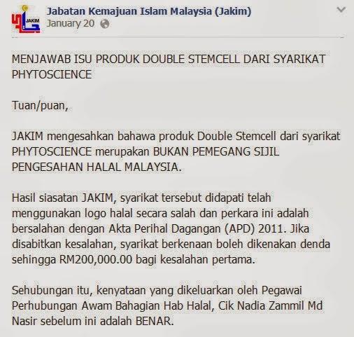 Produk Double Stemcell Tiada Sijil Pengesahan Halal JAKIM
