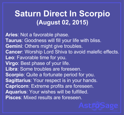 Saturn direct in scorpio will affect bring changes in your life.