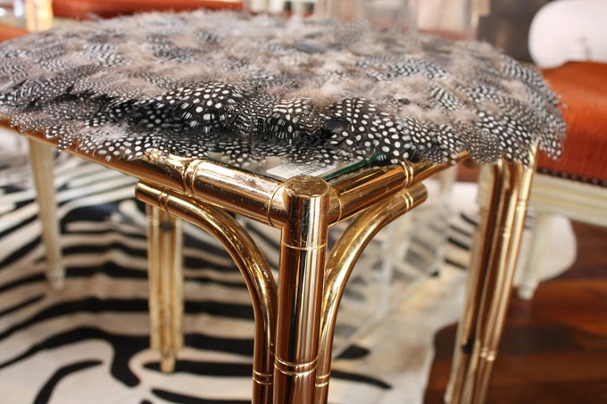 Side Table with Feathers at Jayson Home