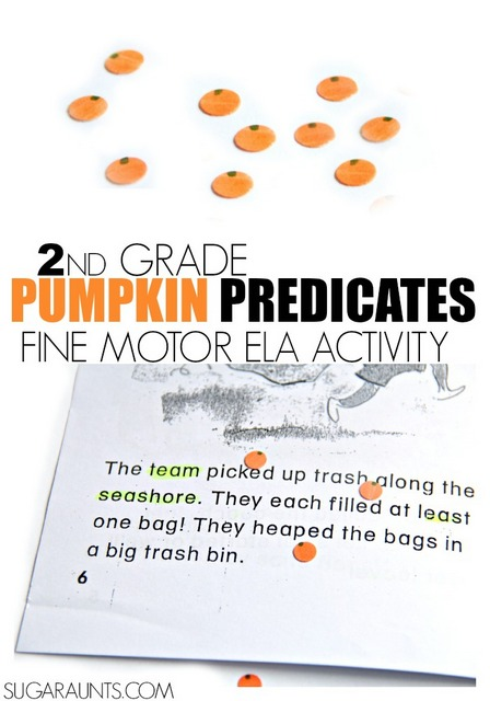 Noun And Predicate Pumpkin Activity Second Grade Ela The Ot Toolbox